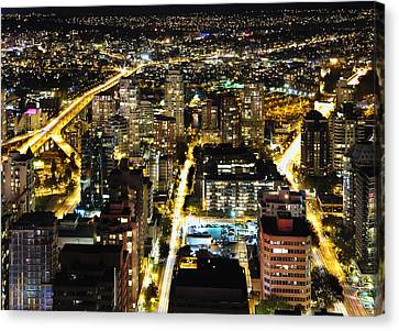 Canvas Print featuring the photograph Cityscape Golden Burrard Bridge Mdlxiv by Amyn Nasser