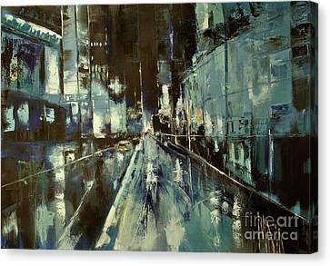 Canvas Print featuring the painting Cityscape by Maja Sokolowska