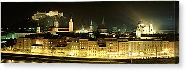Cityscape Night Salzburg, Austria Canvas Print by Panoramic Images