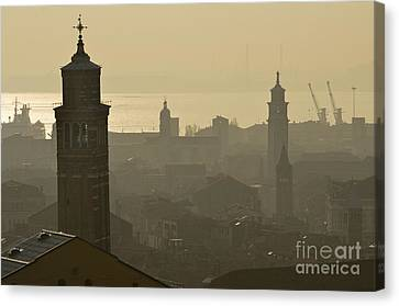 Cityscape Of Venice And Cranes Silhouettes Canvas Print by Sami Sarkis