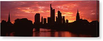 Cityscape, Rhine River, Frankfurt Canvas Print by Panoramic Images