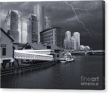 Canvas Print featuring the photograph Cityscape Storm by Gina Cormier