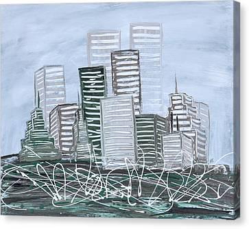 Cityscape Teal Canvas Print
