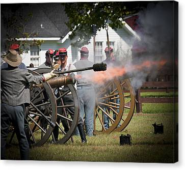 Canvas Print featuring the photograph Civil War Cannon Fire by Ray Devlin