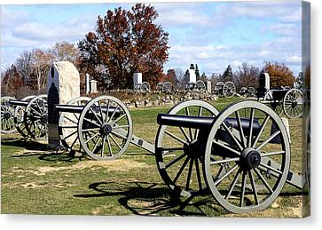 Civil War Cannons At Gettysburg National Battlefield Canvas Print by Brendan Reals