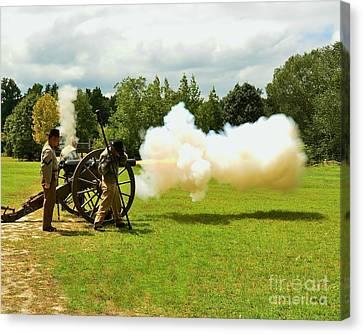 Civil War Canon Firing  Canvas Print by Bob Sample