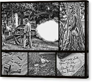 Canvas Print featuring the photograph Civil War Collage by Geraldine DeBoer