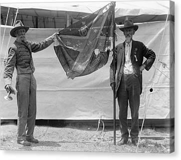 War Torn Flag Canvas Print - Civil War Reunion, 1917 by Granger
