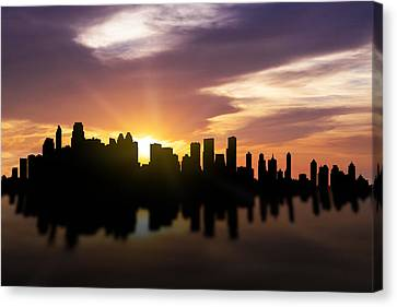 Calgary Sunset Skyline  Canvas Print by Aged Pixel