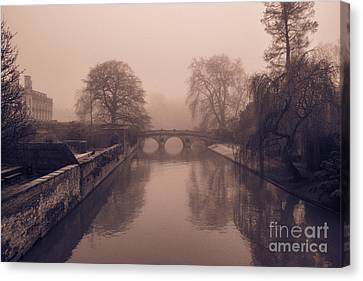 Claire College Bridge Cambridge Canvas Print by David Warrington