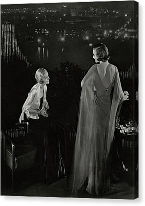 Claire Coulter And Avis Newcomb Wearing Evening Canvas Print by Edward Steichen