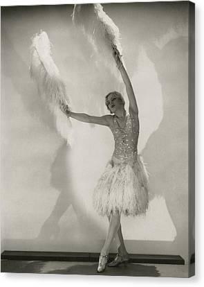 Ostrich Fan Canvas Print - Claire Luce Holding Ostrich Feathers by Edward Steichen