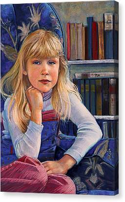 Girl In Wingback Chair Canvas Print
