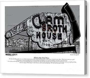 Graphic Digital Art Canvas Print - Clam Broth House Sign by Kenneth De Tore