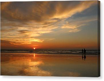 Clam Digging At Sunset - 4 Canvas Print
