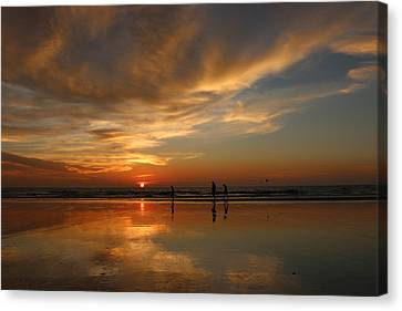 Clam Digging At Sunset -1  Canvas Print