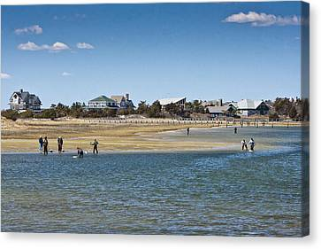Clammers On Tidal Flats Canvas Print by Dennis Coates