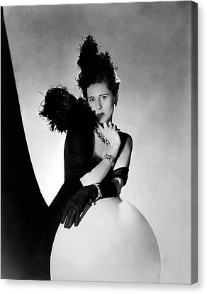 Ostrich Feathers Canvas Print - Clare Boothe Luce Wearing Feathers by Horst P. Horst