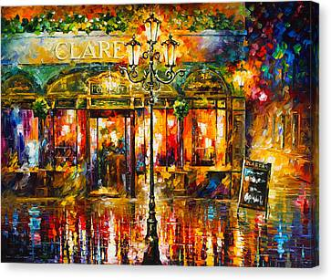 Clarens Misty Cafe Canvas Print by Leonid Afremov