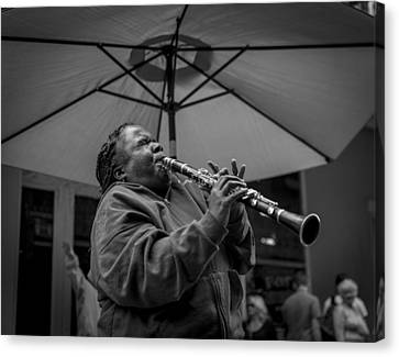 Clarinet Player In New Orleans Canvas Print by David Morefield