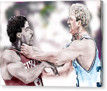 Julius Erving Canvas Print - Clash Of The Titans 1984 - Bird And Doctor  J by Reggie Duffie