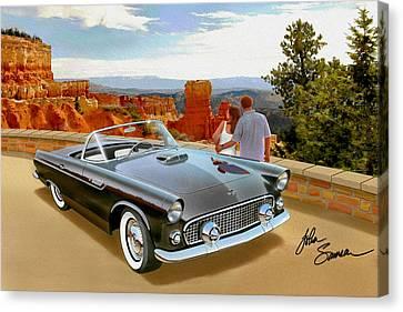 Classic 1955 Thunderbird At Bryce Canyon Black  Canvas Print by John Samsen