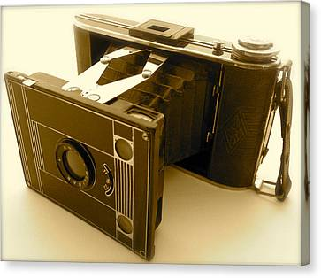 Classic Bellows Folding Camera Canvas Print by John Colley