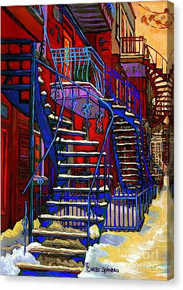 Classic Blue Winding Staircase Montreal Winter City Scene Painting  By Carole Spandau Canvas Print