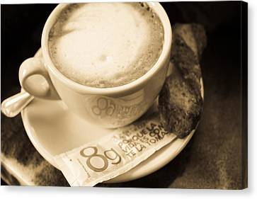 Classic Cafe Con Leche Cup In Spain Canvas Print by Calvin Hanson