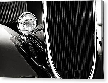 Classic Car Grille Black And White Canvas Print by M K  Miller