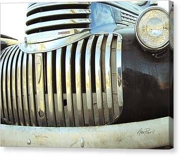 Classic Chevy Truck Grill Canvas Print by Ann Powell