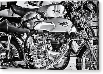 Classic Chrome Cafe Racer Motorcycles Canvas Print by Tim Gainey