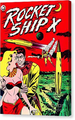 Classic Comic Book Cover - Rocket Ship X - 1225 Canvas Print by Wingsdomain Art and Photography