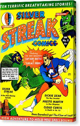 Classic Comic Book Cover - Silver Streak Comics Captain Battle - 0250 Canvas Print by Wingsdomain Art and Photography