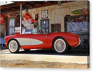 66 Canvas Print - Classic Corvette On Route 66 by Mike McGlothlen