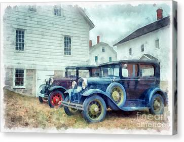 Classic Ford Model A Cars Canvas Print by Edward Fielding