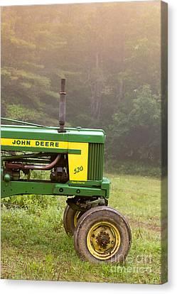 Plowing Canvas Print - Classic John Deere 520 Tractor by Edward Fielding