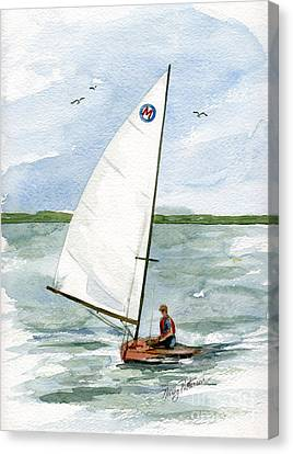 Canvas Print featuring the painting Classic Moth Boat by Nancy Patterson