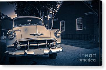 Classic Old Chevy Car At Night Canvas Print by Edward Fielding