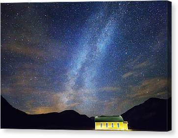 Classic Old Yellow School House Milky Way Sky Canvas Print