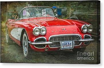 Classic Red Corvette Canvas Print