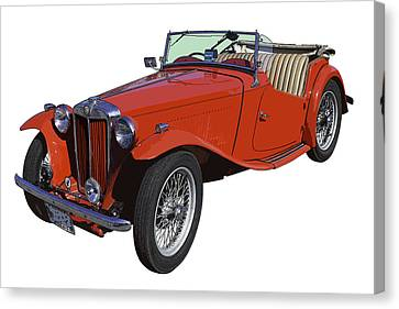 Classic Red Mg Tc Convertible British Sports Car Canvas Print