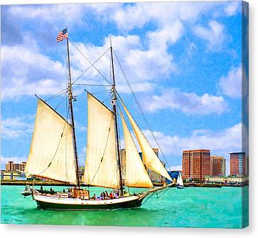 Classic Tall Ship In Boston Harbor Canvas Print by Mark E Tisdale