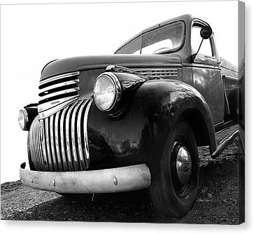 Classic Truck In Black And White Canvas Print by Ann Powell