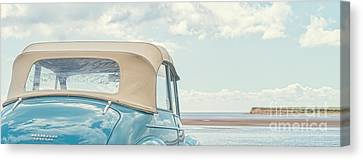 Classic Vintage Morris Minor 1000 Convertible At The Beach Canvas Print by Edward Fielding