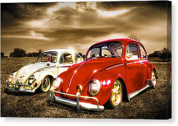 Classic Vw Beetles Canvas Print by Ian Hufton