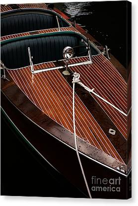 Classic Wooden Power Boat Canvas Print by Edward Fielding