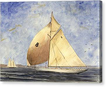 Classic Yacht Barcelona Canvas Print by Juan  Bosco