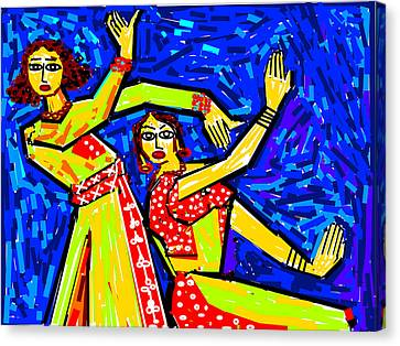 Classical Dancers Canvas Print by Anand Swaroop Manchiraju