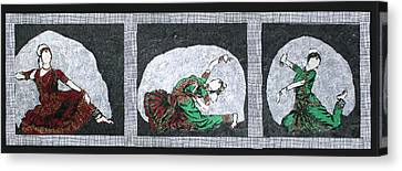Dance Tapestries Textiles Canvas Print - Classical Indian Dance by Mihira Karra